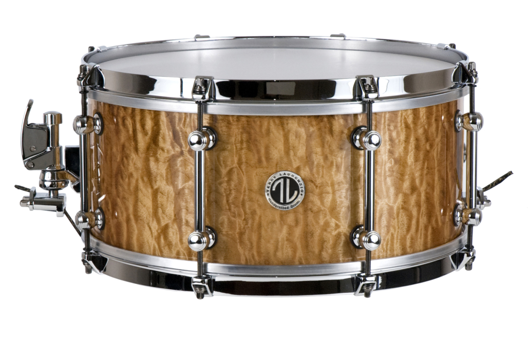 Solid quilted Maple snare drum in amber gloss finish